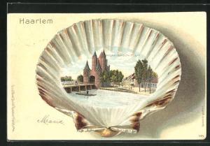 Passepartout-Lithographie Haarlem, Amsterdamsche Port, Muschel