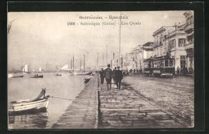 AK Salonique / Saloniki, Les Quais, Strassenbahn