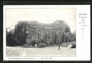 AK Borculo, Cycloon 1925, Ned. Herv. Kerk., Kirche nach Wirbelsturm