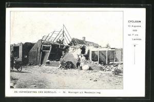AK Borculo, Cycloon 1925, Woningen a/d. Needesche weg, Wirbelsturm