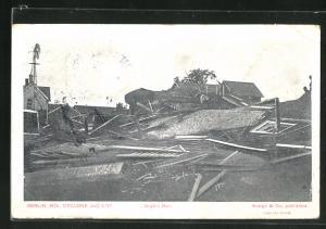AK Berlin, WI, Cyclone 1907, Angle`s Barn, Wirbelsturm