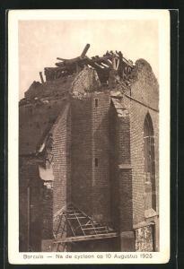AK Borculo, Na de cycloon op 10 Augustus 1925, Schäden an der Kirche nach Unwetter