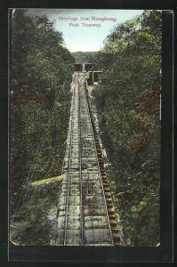 AK Hongkong, The Peak Tramway, Bergbahnen auf der Strecke