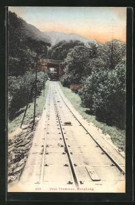 AK Hongkong, The Peak Tramway, Bergbahn auf der Strecke