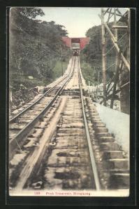 AK Hongkong, Peak Tramway, Bergbahn an der Überführung