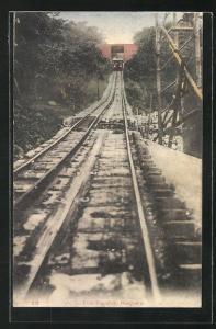 AK Hongkong, Peak Tramway, Bergbahn auf der Strecke