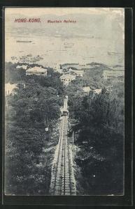 AK Hongkong, Mountain Railway, Bergbahn mit Blick auf den Hafen