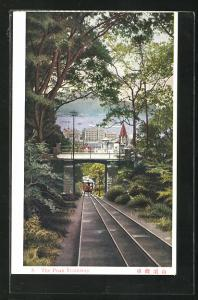 AK Hongkong, Peak Tramway, Bergbahn unter der Brücke