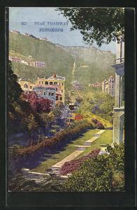 AK Hongkong, Peak Tramway, Bergbahn durchquert ein Wohngebiet
