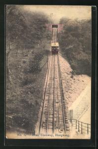 AK Hongkong, Peak Tramway, Bergbahn bei der Abfahrt