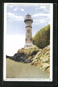 AK Panama, Leuchtturm am Eingang zum Panama Kanal
