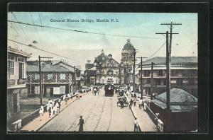 AK Manila, General Blanco Bridge, Strassenbahn