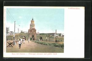 AK Cartagena, Boca del Puente, Principal entrance and public clock