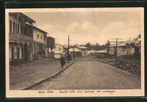AK Addis Abeba, Aspetto della citta distrutta dal saccheggio