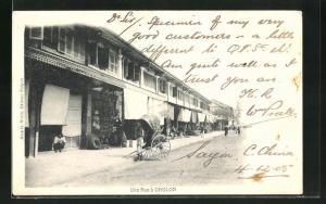 AK Cholon, Une Rue, Blick auf Rikscha vor Häusern