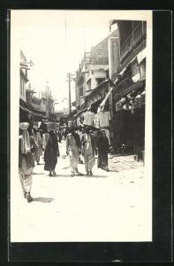 Foto-AK Karachi, Strassenpartie, Basar