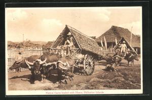 AK Philippine Islands, Native Carts loaded with Hemp