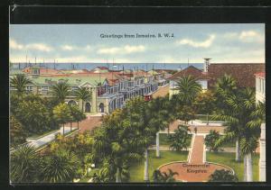 AK Kingston, Commercial, Blick auf Platz mit Palmen, Häuser und Meer