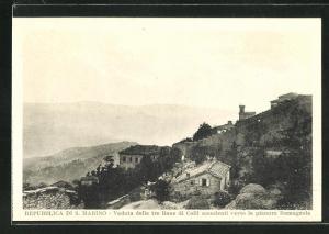 AK San Marino, Veduta delle tre linee di Colli scendenti verso la pianura Romagnola