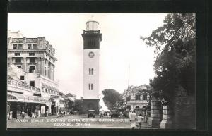 AK Colombo, Queen Street, showing Entrance to Queen`s Hotel, Turmuhr