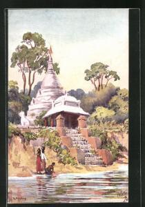 Künstler-AK Mandalay, A Pagoda