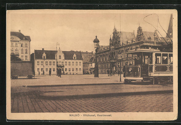AK Malmö, Radhuset, Strassenbahn passiert das Rathaus 0