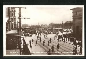 AK Johannesburg, Tram Terminus at Market Square, Strassenbahn-Endhaltestelle