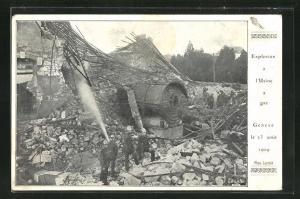 AK Genève, Explosion à l`Usine à Gaz 23.8.1909