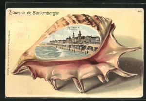 Passepartout-Lithographie Blankenberghe, Strand und Casino, Ansicht auf Muschel
