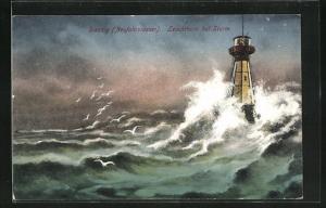 Künstler-AK Danzig / Gdansk, Leuchtturm bei Sturm