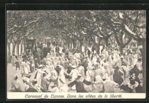 AK Cannes, Carneval, Dans les allees de la liberté, Anwohner tanzen zum Fasching
