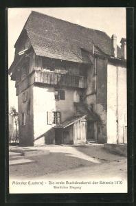 AK Luzern, Münster - erste Buchdruckerei der Schweiz, westlicher Eingang