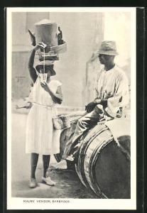 AK Barbados, Mauby Vendor, afrikanische Wasserhändlerin mit Eimer auf dem Kopf