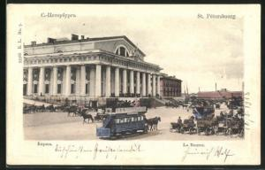 AK St. Petersburg, Pferdebahn passiert die Börse
