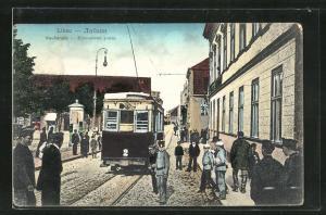 AK Libau, Strassenbahn in der Kaufstrasse