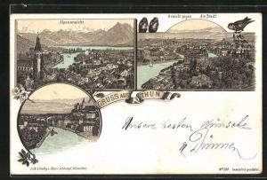Vorläufer-Lithographie Thun, 1895, Stadtansicht gegen die Alpen, Teilansichten