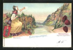 Lithographie Glarus, Klönthalersee, Glarnerin, Männertreu