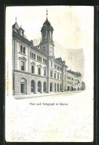 AK Glarus, Blick auf Post- und Telegraphenhaus