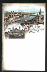 Lithographie Zürich, Tonhalle, Panoramablick mit Alpen