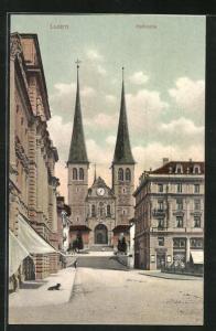 AK Luzern, Ortspartie an der Hofkirche