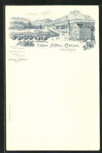 Lithographie Lucerne, Swan Hotel Cygne, Stadtansicht mit Gebirgspanorama