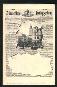 Passepartout-AK Zürich, Hotel Schwert am Marktplatz, Zürcherische Freitagszeitung 1901