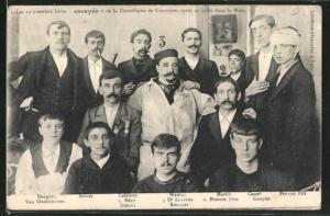 AK Courrières, Les 12 premier héros escapés..., Überlebende Bergleute des Grubenunglücks