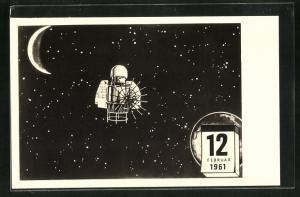 AK Sonde vom Sputnik auf dem Weg zur Venus 1961