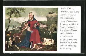 Künstler-AK Tierschutz The R.S.P.C.A., Gnadenbild mit Tieren im Wald