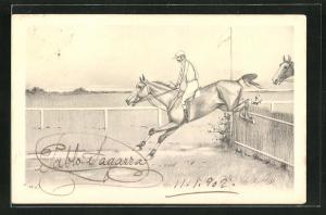 AK Jockey springt mit seinem Pferd über eine Hürde