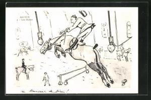 AK Saumur, Les Buches, Jockey springt mit seinem Pferd über Hürde