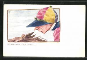 AK Alle Corse di Cavalli, Jockey auf seinem Pferd