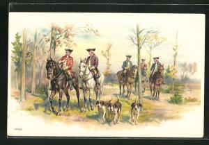 Lithographie Jagdhunge und Reiter im Wald unterwegs