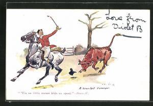 Künstler-AK a scarlet runner, Bulle jagdt einen Reiter
